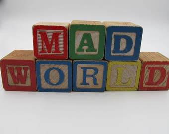 Vintage Wooden MAD WORLD Alphabet Building Blocks, Country Decor, Rustic Decor, Humor Stacking Wood Letter Blocks, 8 Wood Blocks, Mad World