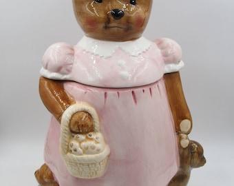 Vintage Teddy Bear in Pink Dress Cookie Jar, Vintage Teddy Bear Collectors, Vintage Cookie Jar Collectors, Peggy Jo Ackley Cookie Jar