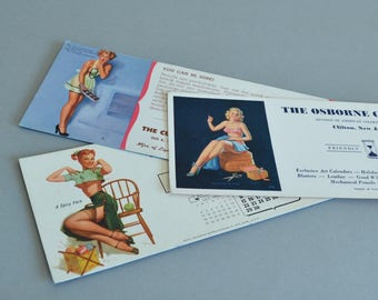 Pinup Ink Blotters Nudie Ink Blotters Racy Ink Blotters 1950s Pinup Small Pinup Girl Prints Domestic Pinups 1950s Ephemera
