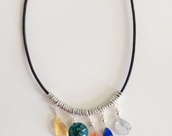 Semi Precious Stone Leather Necklace, Beaded Necklace, Multi Colored Necklace, Silver Heishi Beads