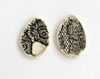 Artisan ceramic pendant, earring pieces, black and white ceramic pendant, textured black and white clay earrings, lace imprinted earrings