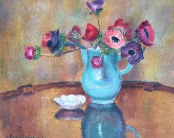 Anemone bouquet . Oil painting Adrien Berger Lheureux 1903