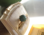 RESERVED FOR EMILY: Pretty 10k Gold Vintage Ring with Green Stone 6 3/4 to 7