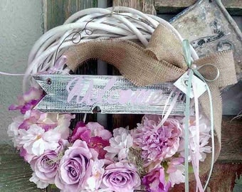 White Plaited Willow Wreath, Spring Wreath, Front Door Wreath, Pink Roses Wreath, Burlap Bow, Rustic Wreath, Welcome Wreath
