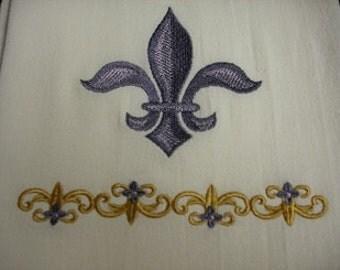 Mardi Gra Fleur De Lis flour sack towel. Machine embroidered.