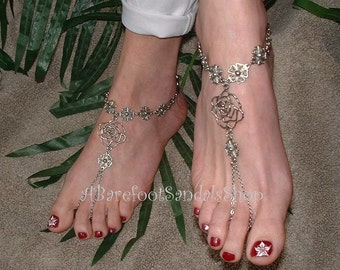 HIPPIE Barefoot Sandals BOHO Wedding Jewelry Shoes SIZED Women's Toe Ring Ankle Bracelet Anklet Sandal Jewelry Hippie Clothes Accessories