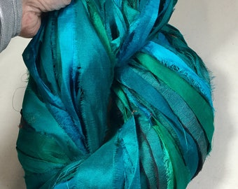 Recycled Sari Silk Ribbon Turquoise Teals Emerald Tassel Jewelry Dreamcatcher Sari Wrap Bracelet Eco Gift Wrap Fair Trade Fiber Art Supply