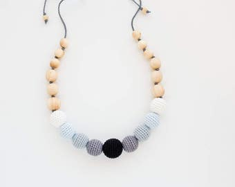 Monochrome Nursing Necklace - Black&Gray, Juniper Wood - New Mom Necklace, teething Necklace, New Baby Gift  - NG05