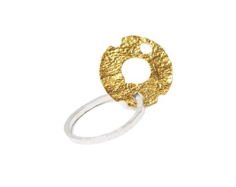 ring 925 silver  + 18k gold
