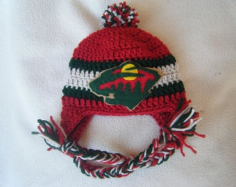 Crocheted Minnesota Wilds Inspired Hockey Baby Beanie/Hat - Made to Order - Handmade by Me
