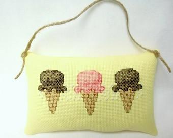 Ice Cream Cone Cross Stitch Hanging Mini Pillow Door Pillow