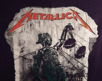 Vintage Tee Metallica And Justice For All Tour 88-89 Concert Tee Shirt