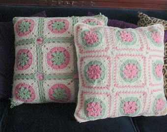 Pillows Crocheted Pink Green Vintage French Country Shabby Chic