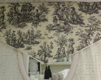 Vintage Toile Valance Waverly Black White Romantic French Cottage Chic