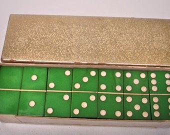 Vintage set Green Dominoes in Box Square Cut Corners Dominoes 1950s 40s Games