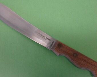 "Vintage Butcher Knife Chef Knife Kitchen Butcher Knife Stainless Blade 8"" Blade Wood Handle  Lot no. 10"