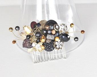 Black Hair Comb- Black & Gold Hairpiece- Black Bridal Comb-Wedding hair accessories- Bridal Hairpiece- Black Hair Clip- Black Hair Accessory