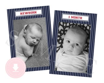 INSTANT DOWNLOAD 12 Month Photo Banner (Baseball Birthday, Baseball Party, 1st Year Banner, Navy and Red Party, Printable Photo Banner)