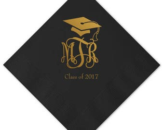 Graduation Cap and Monogram - Class of 2018 - Personalized Graduation Napkins | Personalized Graduation  Napkins