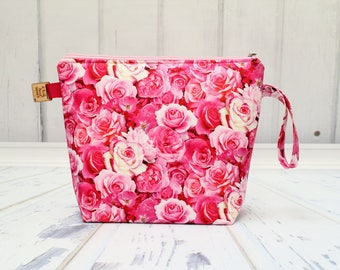 Pink Roses fabric Large Clutch Project Bag, Cross Stitch Project Bag, Large Wedge Zipper Bag for Knitting and Crochet.Padded Bag
