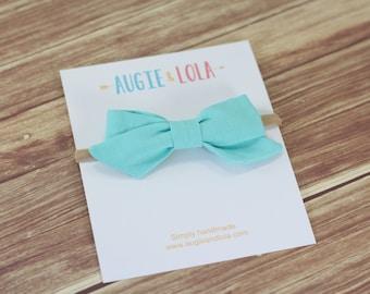 Azure Bow, Aqua Bow, Girls Hair Bows, Sailor Bow, Chunky Bow, Mini Bow, Newborn Bows, Headbands, Newborn Headband, Toddler Headband