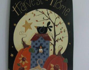 Fall, Saltbox house, pumpkins, crow, bird, moon, autumn, wall hanging, door hanging, wall decor, door decor, harvest