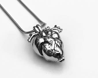 Anatomical Heart Urn, Cremation Necklace, Heart Urn, Urn Locket, Ashes Holder Necklace, Cremation Locket, Memory Locket, Cremation Jewelry