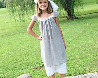 Photoshoot Dress 3 Piece Grey and Mustard Gauze Dress Bloomers Mori Wrap Ellie Ann and Lucy
