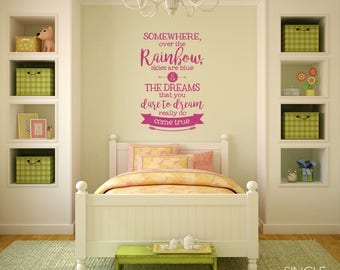 Over The Rainbow Wall Decal Quote - Vinyl Wall Text Sticker Art