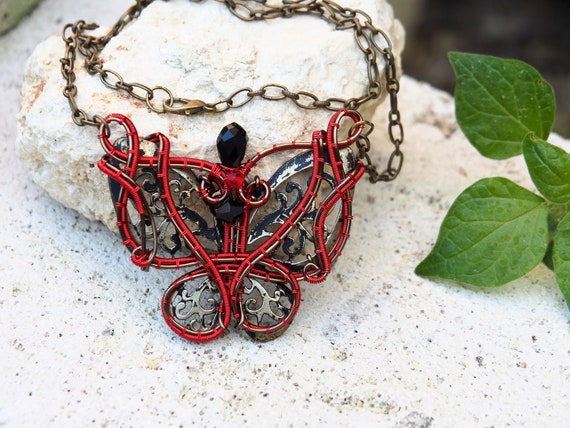Red butterfly wire wrapped necklace