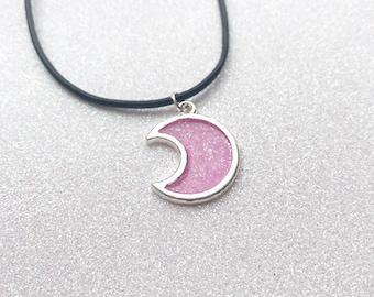 Kawaii UV Resin Silver Pink Glitter Fairy Kei Moon Choker