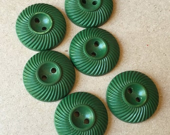 kelly green vintage buttons with compressed middles--matching lot of 6