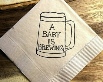 A Baby is Brewing Baby Shower Napkins in Light Burlap  Cocktail Napkins Brown Beer Mug Rustic Party - set of 50