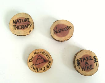 Set of 4 Naturalist Series Cedar Magnets Hiking Adventure Namaste Nature Therapy The Mountains are Calling Take a Hike