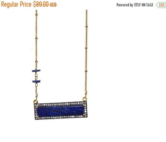 20% off. Lapis Lazuli Horizontal Bar Necklace. Pave White Topaz Encrusted . Asymmetrical Disc Beads, Gold Filled Chain.