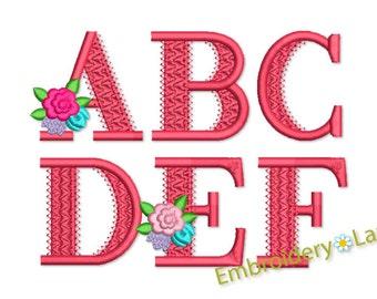 Coupon Codes! Alphabet Flower Font Machine Embroidery Design 2 sizes AL033