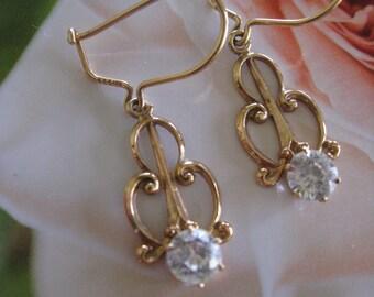Antique 10K Paste Dangle Drop Pierced Earrings