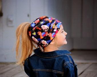 Ready to Ship - Villains Messy Bun hat - Pony Tail Hat - Messy bun beanie - Messy hair - Active Head Wear - Running Gear - Plaid - Trendy