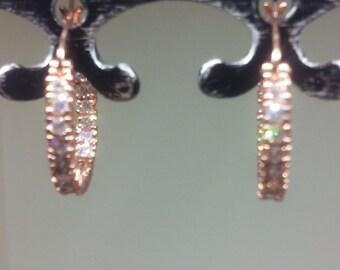 Rose Gold Crystal Hoop Earrings