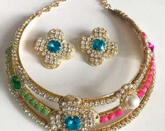 Jewelled Collar Necklace & Earrings , Limited Edition, Jewelled Collar, Collar Jewelry, Rhinestone Jewellery, Crystal Jewelry