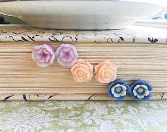 Post Earring Gift Set, Rose Flower Earrings, Blue & White Flower, Peach Rose, Purple Flower, Silver Nickel Free Hypoallergenic Posts