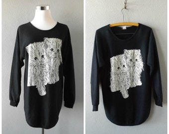 Glitter Cat 80s Sweatshirt Vintage Black White Kitty Cat Pullover Tunic Blouse Size S//Small Hipster Boho Jumper Dress Tops 1980s Animal Top
