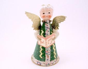 1950s Angel Christmas Decoration Porcelain Head Cardboard Retro Green