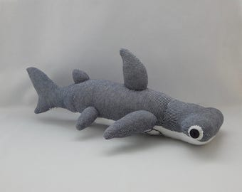 Hammerhead Shark Plush Toy, Shark Plushie, Stuffed Animal, Sock Monkey, Stuffed Toy