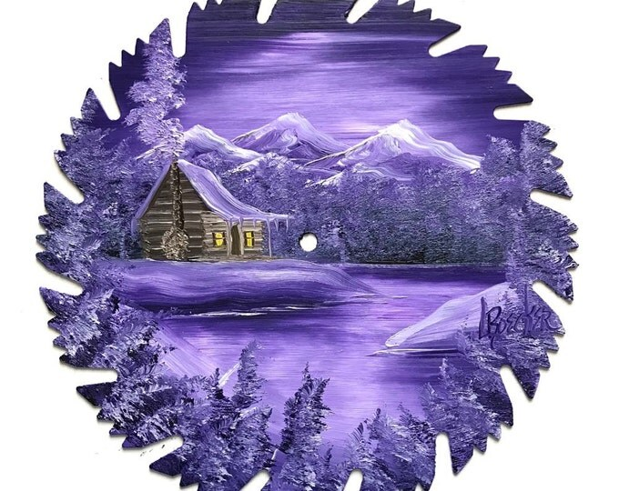 Hand Painted Saw Blade Mountain Winter Snow Log Cabin All 4 for one price