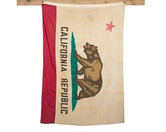 Vintage California Flag / 1950's Original Cotton Bear Flag / Vintage Cloth State Flag