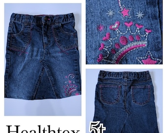 Pink Crown Skirt - Jean Skirt - Up-cycled Jean skirt