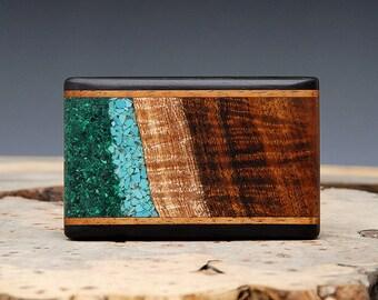 Exotic Wood, Turquoise & Malachite Inlaid Belt Buckle - Handmade