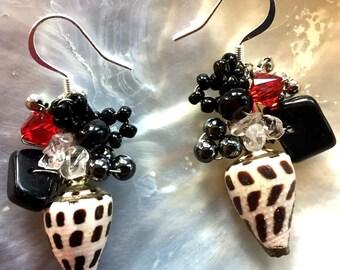 Sea Shell & Onyx Wire-Wrapped Earrings