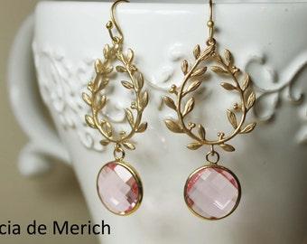 Gold Laurel Wreath Earrings.Pink Glass Teardrop Matte Gold Laurel Wreath Earrings. Chandelier Earrings, Dangle Earrings, Gift for Her